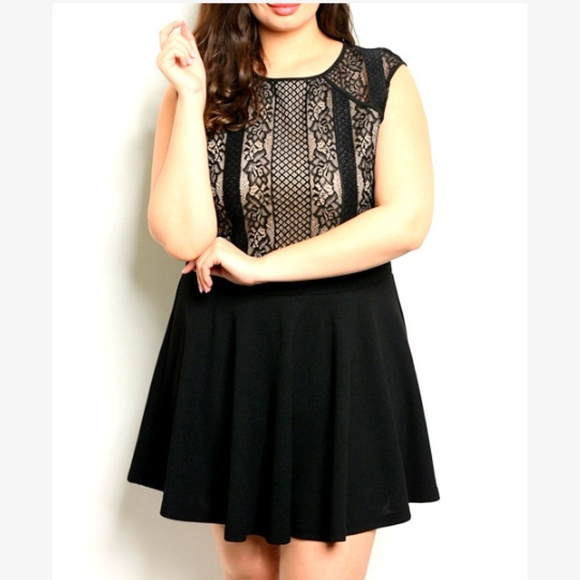 Black Lace Skater Mini Party Dress Womens XL Lacy cd944a287e